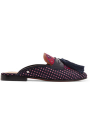 Parsimon tasseled printed twill slippers