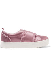 Sam Edelman Levine frayed satin slip-on sneakers