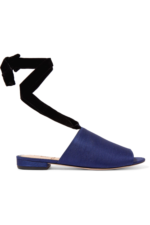Sam Edelman Theodora velvet-trimmed slub satin sandals