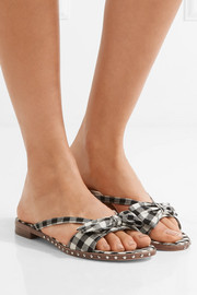 Delancy studded gingham canvas sandals