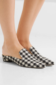 Augustine gingham canvas slippers