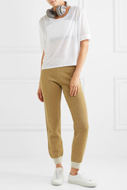 Fendi Roma metallic wool track pants