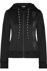 Fendi Karlito appliquéd embroidered tech-jersey hooded top