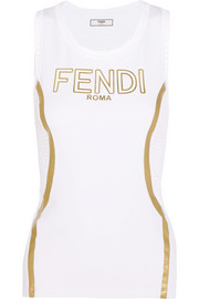 Fendi Roma perforated metallic-coated stretch tank