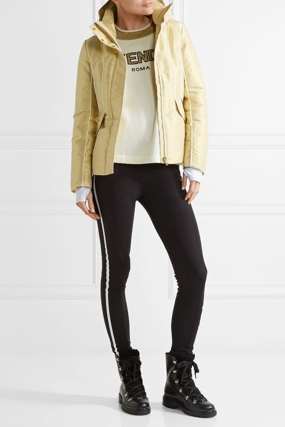 Fendi Roma metallic padded ski jacket