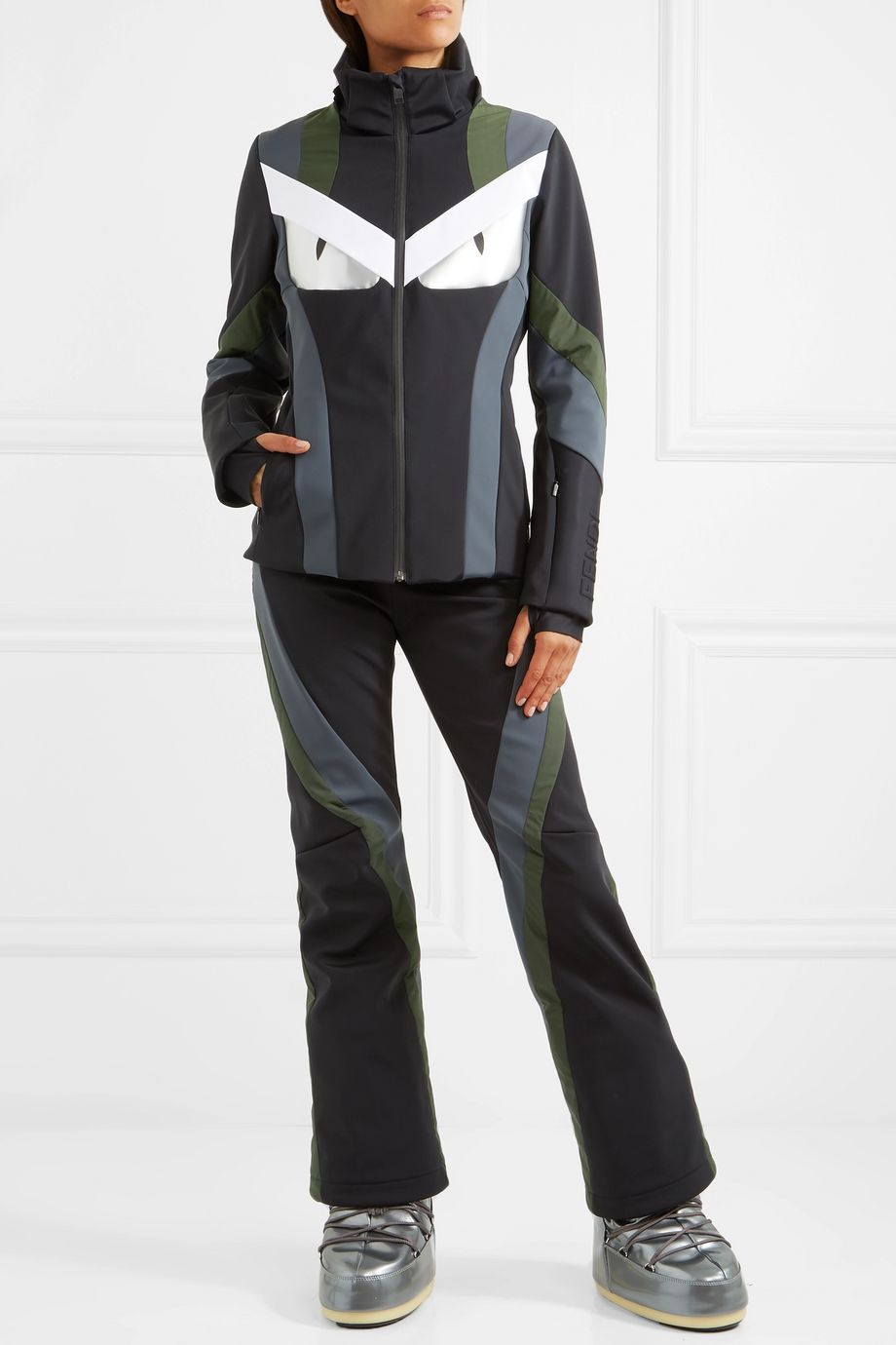 Fendi Wonders paneled hooded ski jacket