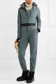 Fendi Belted striped stirrup ski suit