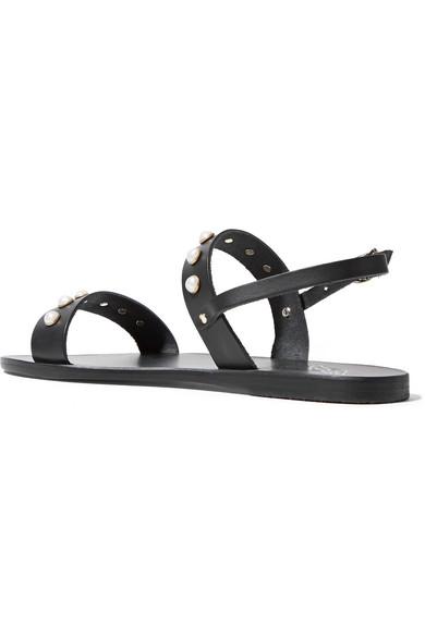 Ancient Greek Sandals | Clio Kunstperlenverzierung Sandalen aus Leder mit Kunstperlenverzierung Clio 09b334