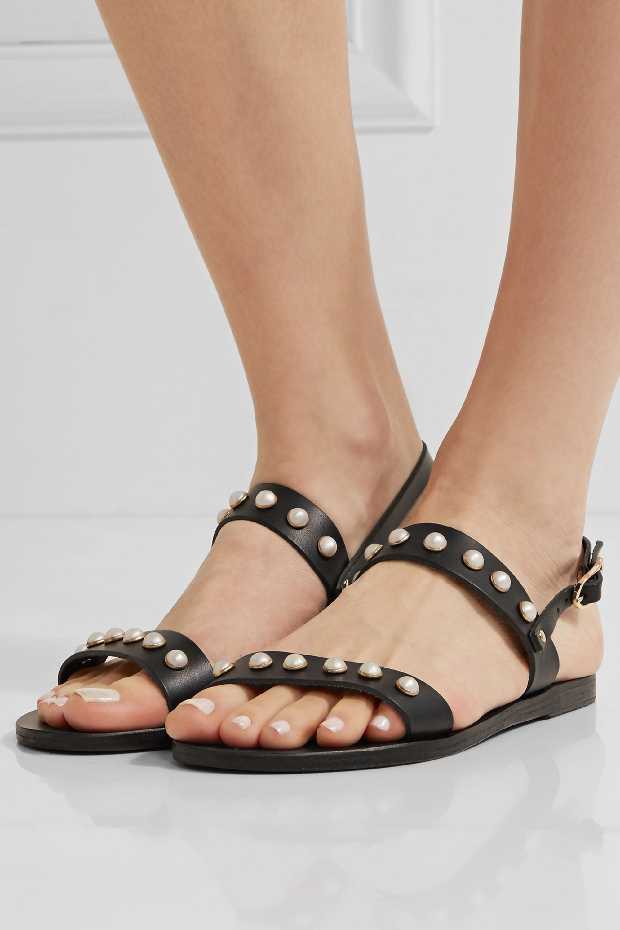Ancient Greek Sandals Clio faux pearl-embellished leather sandals