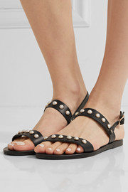 Clio faux pearl-embellished leather sandals