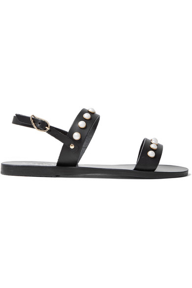 Ancient Greek Sandals - Clio Faux Pearl-embellished Leather Sandals - Black