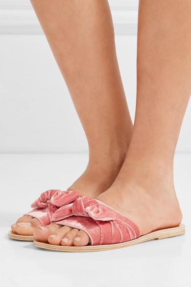 00ea579c6a6e Ancient Greek Sandals. Taygete bow-embellished velvet slides