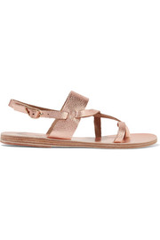 Ancient Greek Sandals Alethea metallic textured-leather sandals