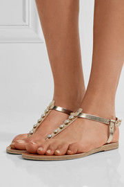 Ancient Greek Sandals Lito faux pearl-embellished metallic leather sandals