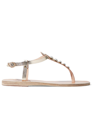 Ancient Greek Sandals - Lito Faux Pearl-embellished Metallic Leather Sandals - Gold