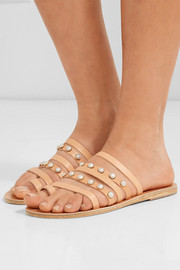 Ancient Greek Sandals Niki faux pearl-embellished leather sandals