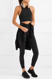 + Karlie Kloss Warp Knit cropped perforated climacool stretch-knit top