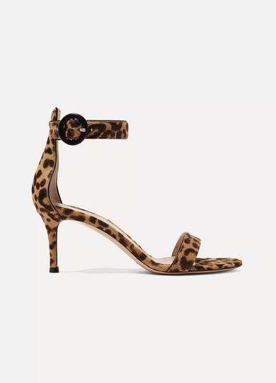 Gianvito Rossi - Portofino Leopard-print Calf Hair Sandals - Leopard print