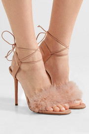 Charlotte Olympia Salsa feather-trimmed suede sandals