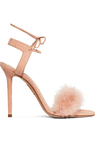 Charlotte Olympia - Salsa Feather-trimmed Suede Sandals - Blush
