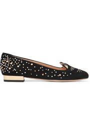 Charlotte Olympia Kitty embellished embroidered suede ballet flats