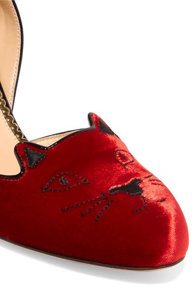 Steckdose In Deutschland Verkauf Wie Viel Charlotte Olympia Kitty bestickte Pumps aus Samt mit Lacklederdetails Outlet-Store Online Tjlzj