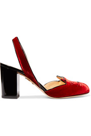 Charlotte Olympia Kitty embroidered patent leather-trimmed velvet slingback pumps