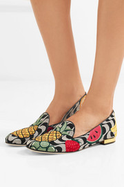 Charlotte Olympia Fruit Salad embroidered canvas slippers