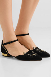 Charlotte Olympia Mid-Century Kitty studded embroidered suede point-toe flats