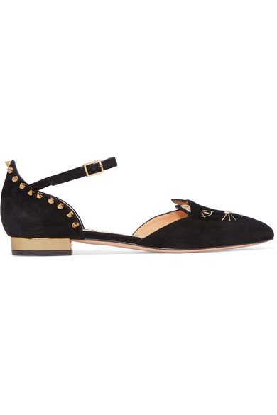 Charlotte Olympia - Mid-century Kitty Studded Embroidered Suede Point-toe Flats - Black