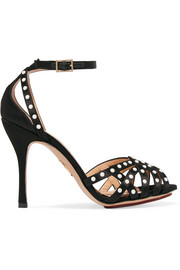 Picalilly faux pearl-embellished satin sandals