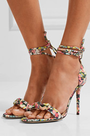 Charlotte Olympia Shelley bow-embellished printed cotton sandals