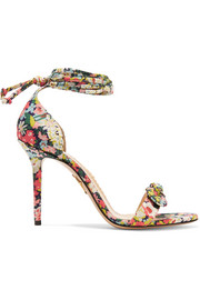Shelley bow-embellished printed cotton sandals