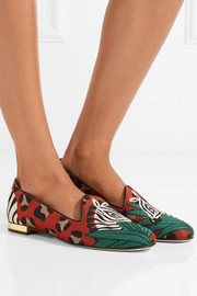 Charlotte Olympia Animal Kingdom leather-trimmed embroidered canvas slippers