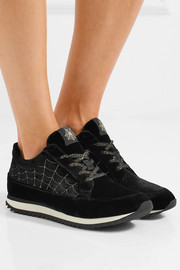 Charlotte Olympia Work It! embroidered velvet sneakers