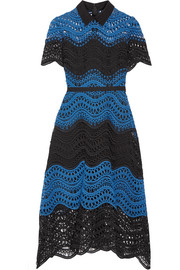 Lela Rose Silk-trimmed guipure lace midi dress