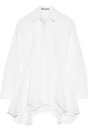 Asymmetric broderie anglaise cotton blouse
