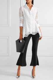 Lela Rose Asymmetric broderie anglaise cotton blouse