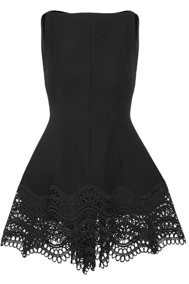 Lela Rose - Guipure Lace-trimmed Stretch Wool-blend Top - Black
