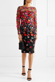 Lela Rose Appliquéd embroidered tulle dress