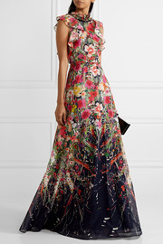 Lela Rose Ruffled floral-print cotton-voile gown