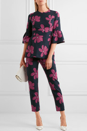 Lela Rose Cropped cotton-blend floral-jacquard slim-leg pants