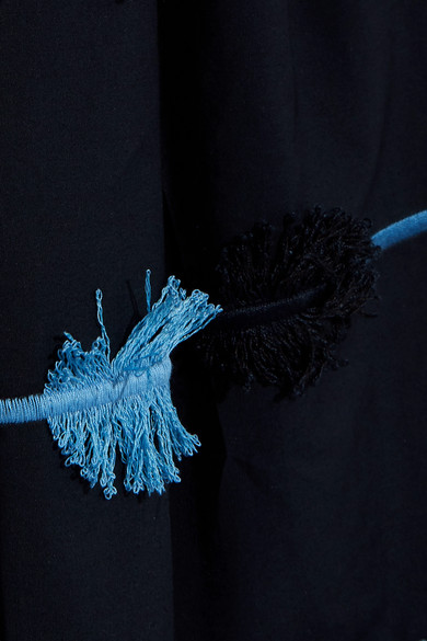 Lela Rose Bestickter Midirock aus Baumwollpopeline