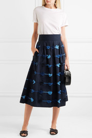Lela Rose Embroidered cotton-poplin midi skirt