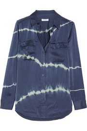 Slim Signature tie-dyed washed-silk shirt