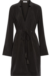 Stacy washed-silk wrap dress
