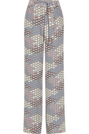 Arwen printed washed-silk wide-leg pants