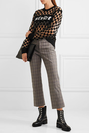 Alexander Wang Flocked mesh and intarsia wool-blend sweater