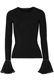 Alexander Wang Embellished lace-trimmed stretch-knit sweater