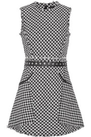 Alexander Wang Embellished checked cotton-blend tweed mini dress